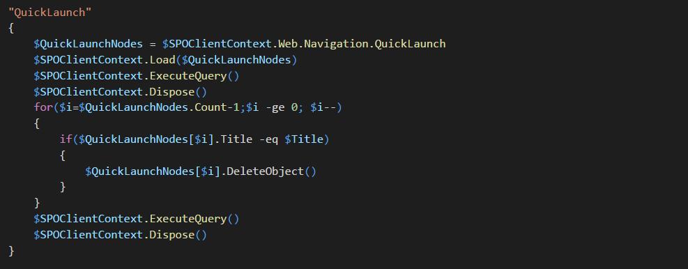 Delete Navigation (Top Navigation or Quick Launch Node